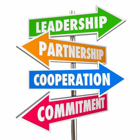Partnership Leadership Collaboration Signs 3d Illustration