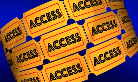 Toegangskaarten Rolls Toelating Pass 3D Illustratie Stockfoto