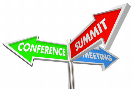 Conference Summit Meeting Words Arrow Signs 3d Illustration Banco de Imagens - 80304030