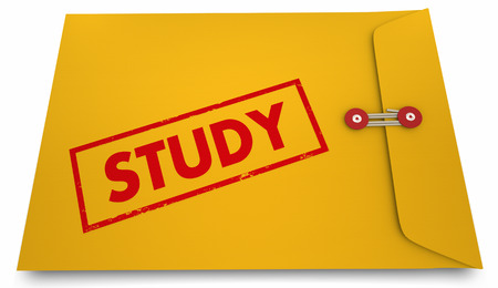 Study Results Envelope Findings Stamp Word 3d Illustration Stock fotó