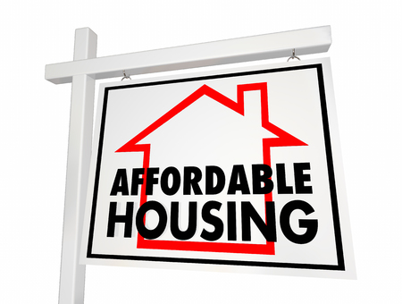 Affordable Housing Home for Sale Sign 3d Illustration Archivio Fotografico