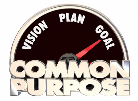 shared sharing: Common Purpose Vision Plan Goal Speedometer Cause 3d Illustration Stock Photo