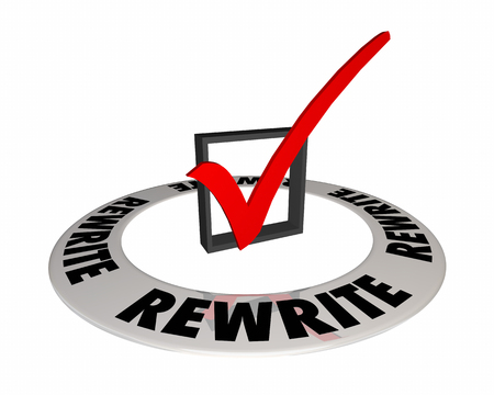 Rewrite Check Mark Box Redo Rethink Strategy 3d Illustration Stock Photo