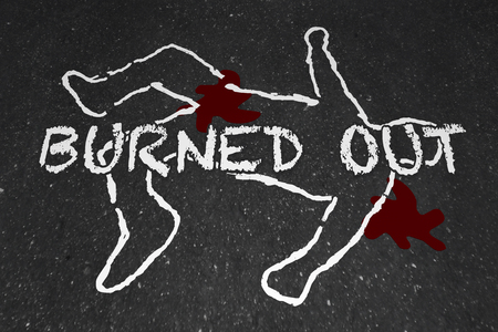 Burned Out Worker Drained Body Chalk Outline Illustration Stock Photo