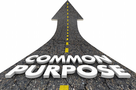 shared sharing: Common Purpose Shared Goal Mission Road Words 3d Illustration Stock Photo