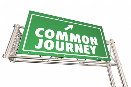 shared sharing: Common Journey Road Sign Shared Transportation Adventure 3d Illustration