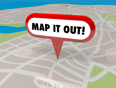 finding your way: Map it Out Pin Words Location Navigation 3d Illustration Stock Photo