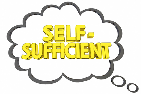 sufficient: Self-Sufficient Independence Thought Cloud Freedom 3d Illustration Stock Photo