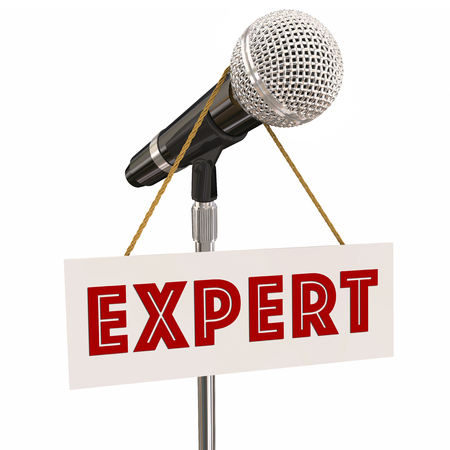 Expert Sign Microphone Guest Speaker Knowledge 3d Illustration