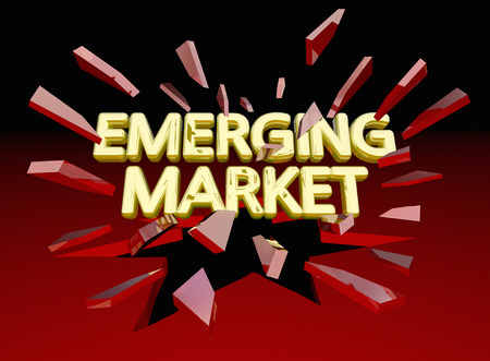 Emerging Market Words Breaking Glass New Growth Area 3d Illustration Stock Photo