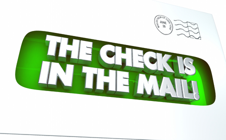 The Check is in the Mail Envelope Payment 3d Illustration Reklamní fotografie - 80446670