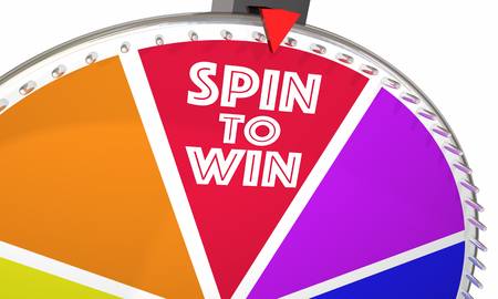 word: Spin to Win Game Show Wheel Play Jackpot 3d Illustration