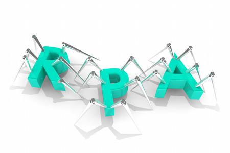 RPA Robotics Process Automation Spiders Bots 3d illustratie Stockfoto