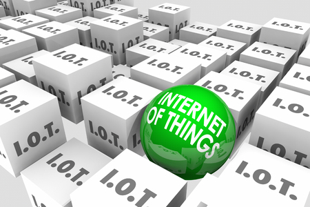 computerized: Internet of Things Platform Cubes Ball 3d Illustration Stock Photo