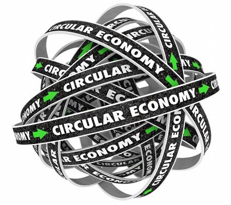 循環経済サイクル道路矢印 3 d イラストレーション 写真素材