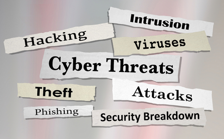 danger: Cyber Threats Attacks Hacking Newspaper Headlines 3d Illustration