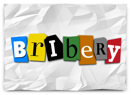 word: Bribery Illegal Money Payment Ransom Note 3d Illustration Stock Photo