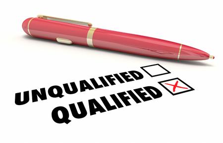 Qualified Check Box Qualification Pen 3d Illustration Standard-Bild
