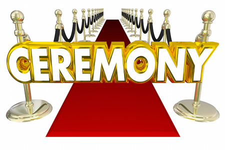 Ceremony Red Carpet Big Event Words 3d Illustration Stock Photo