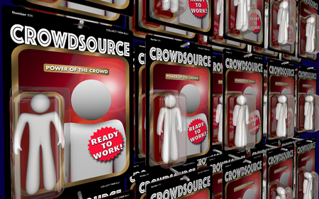 word: Crowdsource Action Figures Workers Virtual Workforce 3d Illustration