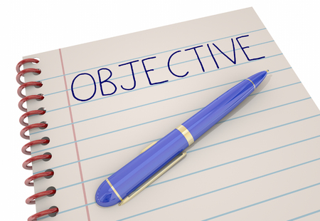 Objective Notepad Pen Goal Mission Plan Success 3d Illustration