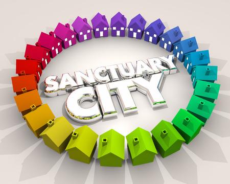 Ciudad del santuario Zona del lugar seguro Barrio Ilustración de la inmigración 3d Foto de archivo - 80623402