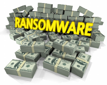 Ransomware Cash Geld Pfähle Virus Holding Hostage 3d Illustration Standard-Bild - 80620908
