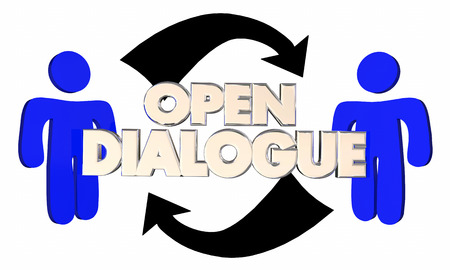shared sharing: Open Dialogue Two People Arrows Communication 3d Illustration