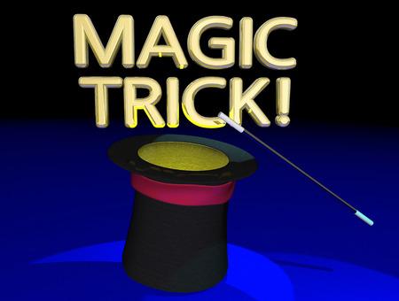 Magic Trick Hat Wand Magician Big Show Act 3d Illustration Stock Photo