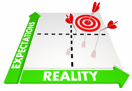 Expectations Vs Reality Matrix Best Possible Outcome 3d Illustration