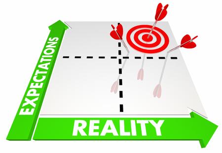 Expectativas contra la matriz de realidad Mejor resultado posible Ilustración 3d Foto de archivo