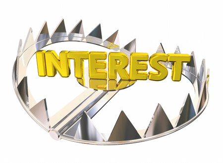 bear trap: Interest Steel Bear Trap Caught Paying High Fees 3d Illustration