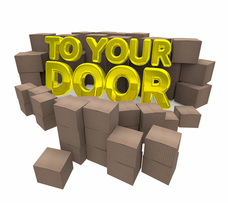 delivered: To Your Door Special Delivery Home Service Cardboard Boxes 3d Illustration Stock Photo