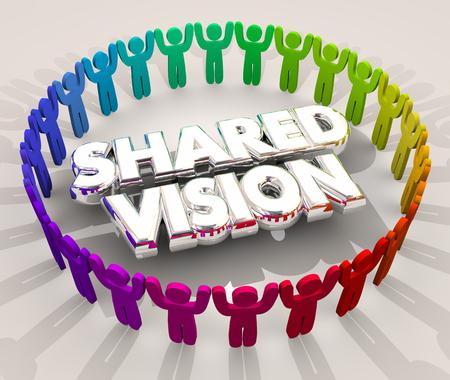 pessoas: Visão compartilhada Objetivo comum Missão Objetivo Pessoa 3d Ilustração