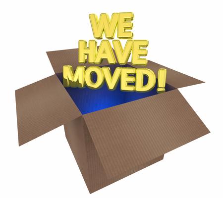 We Have Moved Cardboard Box Relcoate 3d Illustration