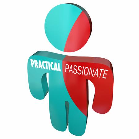 Practical Vs Passionate Person Behavior Qualities 3d Illustration
