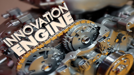 improving: Innovation Engine New Business Ideas Creation Lab 3d Illustration
