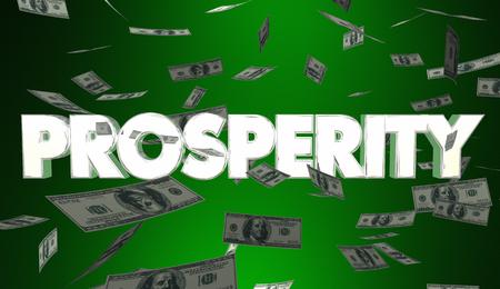Prosperity Money Falling Earning Income Rich Wealth 3d Illustration