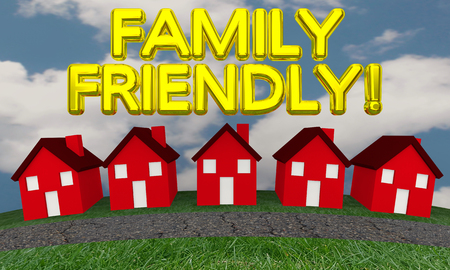 Family Friendly Neighborhood Community Houses 3d Illustration Stock Photo