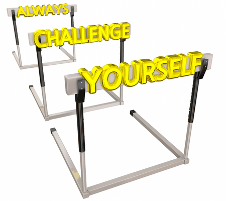 strengthen: Always Challenge Yourself Hurdles Difficult Goal 3d Illustration