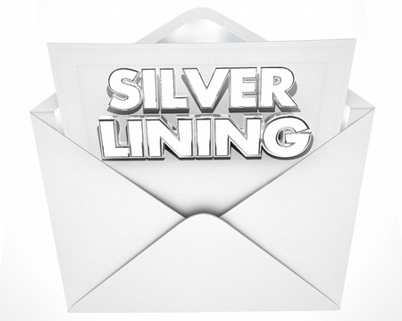 Silver Lining Envelope Positive Attitude Result Outcome 3d Illustration Stock Photo