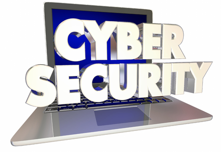 Cyber Security Words Laptop Computer Internet Safety 3d Illustration