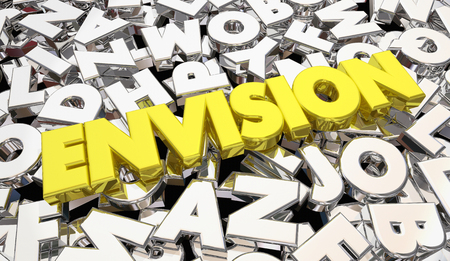 Envision Word Letters Creativity Plan Strategy Idea 3d Illustration Imagens