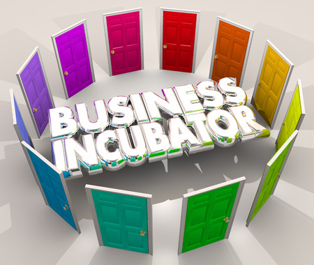 word: Business Incubator Startup Lab New Company Doors Center 3d Illustration