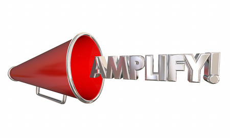 audible: Amplify Bullhorn Megaphone Get Louder Word 3d Illustration Stock Photo