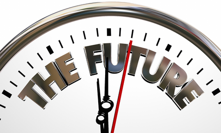 Fate: The Future Coming Next Clock Time Tomorrow 3d Illustration Stock Photo