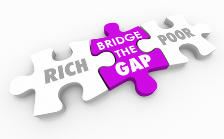 poverty: Bridge the Gap Between Rich and Poor Puzzle 3d Illustration Stock Photo