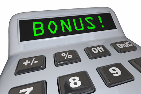 figuring: Bonus Added Extra Calculator Word 3d Illustration
