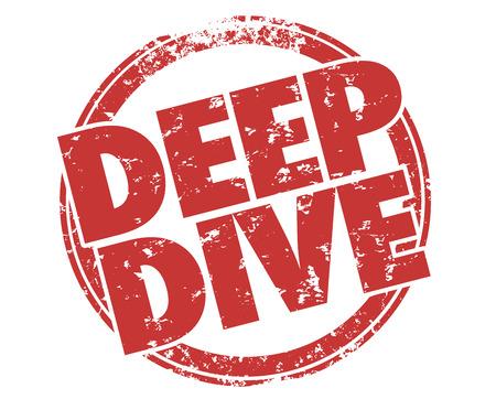 Deep Dive Explore Tema en ilustración de sello de profundidad redonda Foto de archivo - 80852794