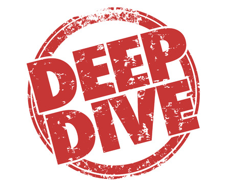 exhaustive: Deep Dive Explore Topic in Depth Round Stamp Illustration